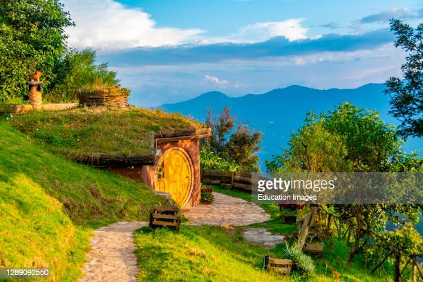 Views of the Hobbitenango attraction near Antigua, Guatemala.