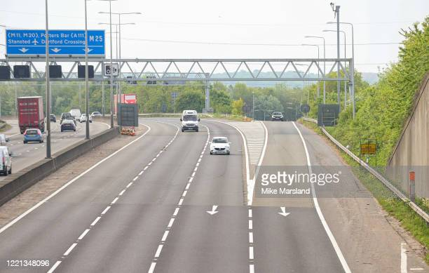 Views of the M25/A1 intersection at Rush Hour on April 27 2020 in London England