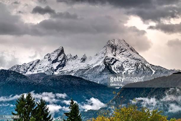views of the mountain watzmann - watzmann massif stock photos and pictures