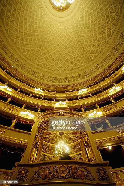 Views of the royal box is seen inside the newly renovated Teatro Alla Scala on November 12 2004 in Milan Italy The building the most famous opera...