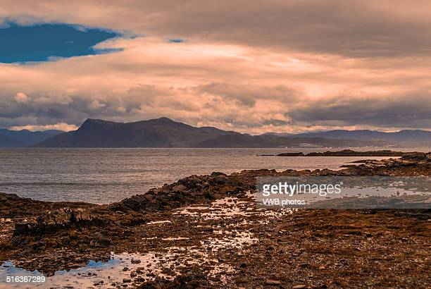 views of the scottish mainland from armadale, skye - mallaig stock photos and pictures