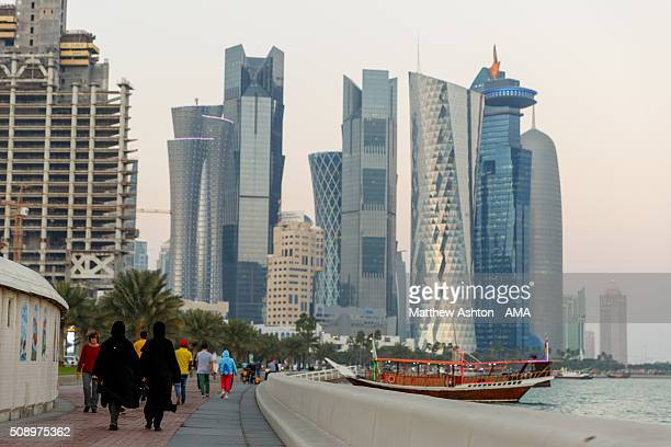 Views of the skyscraper skyline in Doha City on the Corniche in Doha Bay The county of Qatar will play host to the FIFA World Cup in 2022