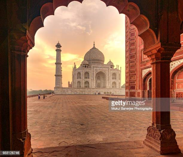 views of the taj mahal at sunrise, agra - uttar pradesh stock pictures, royalty-free photos & images