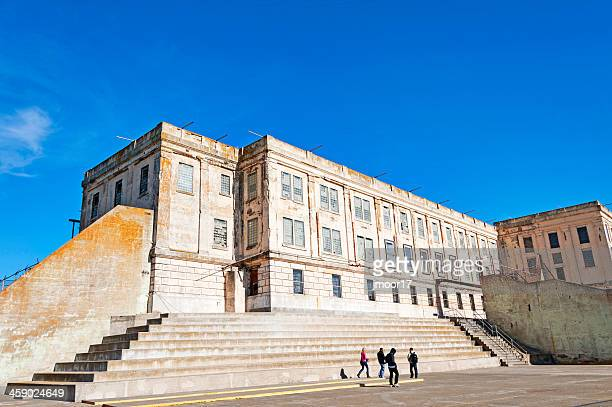 views of the yard in alcatraz - prison building stock pictures, royalty-free photos & images