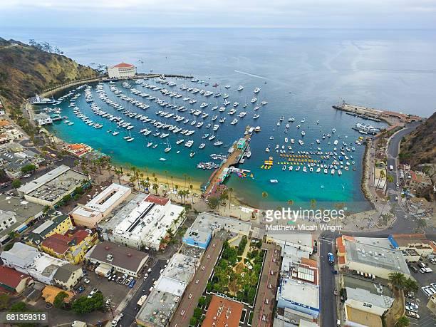 Views over Catalina Island's Avalon Harbor.
