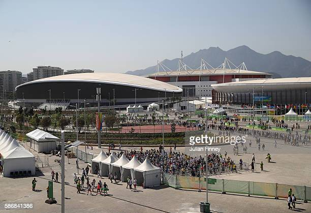 Views over the Olympic Park on Day 1 of the Rio 2016 Olympic Games at the Olympic Tennis Centre on August 6, 2016 in Rio de Janeiro, Brazil.