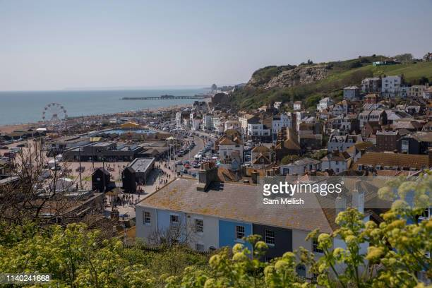 Views overlooking the old town of Hastings and seafront from East Hill on the 20th April 2019 in Hastings in the United Kingdom Hastings is a town on...
