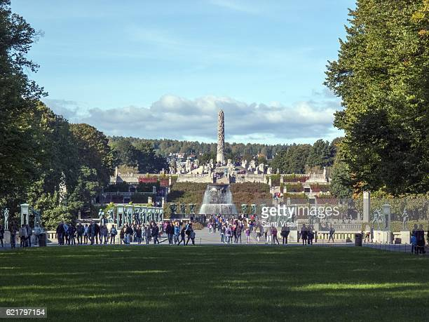 Vigeland Sculpture Park on October 4 2016 in Oslo Norway