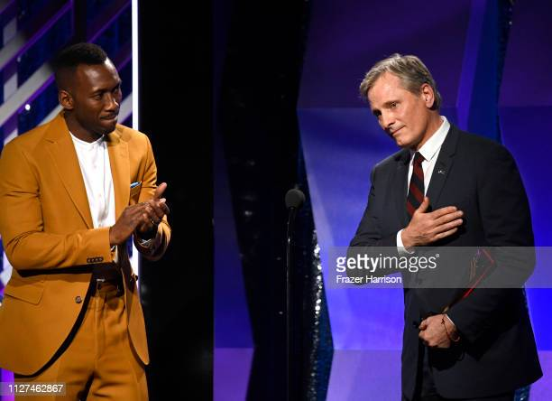 Viggo Mortensen and Mahershala Ali onstage at the 18th Annual AARP The Magazine's Movies For Grownups Awards at the Beverly Wilshire Four Seasons...