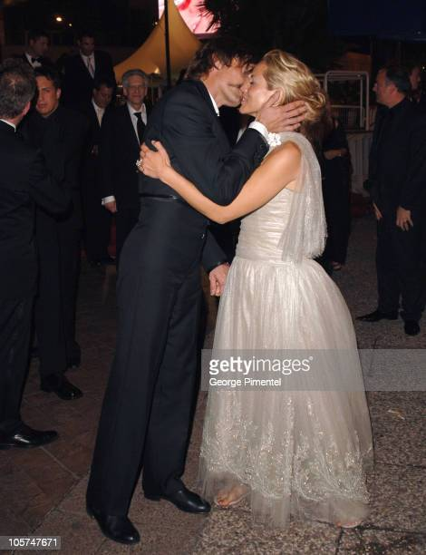 Viggo Mortensen and Maria Bello during 2005 Cannes Film Festival 'A History of Violence' Premiere Departures at Palais des Festival in Cannes France