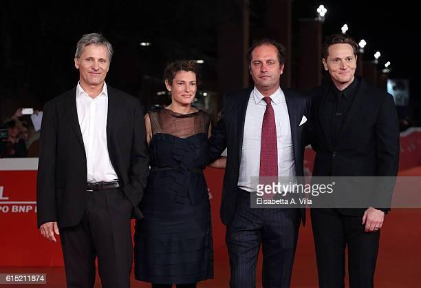 Viggo Mortensen Ginevra Elkann and director Matt Ross walk a red carpet for 'Captain Fantastic' during the 11th Rome Film Festival at Auditorium...