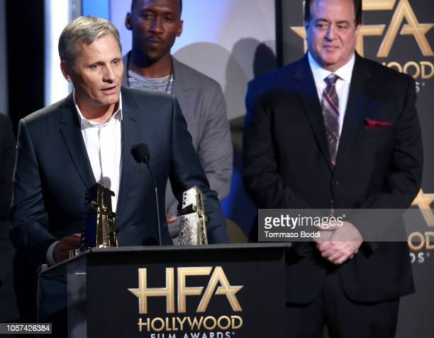 Viggo Mortensen Mahershala Ali and Nick Vallelonga accept the Hollywood Ensemble Award for Green Book onstage during the 22nd Annual Hollywood Film...