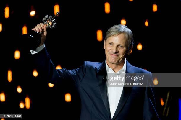 Viggo Mortensen receives the Donostia Award during the 68th San Sebastian International Film Festival at the Kursaal Palace on September 24, 2020 in...