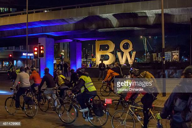 Vigil at Bow roundabout to protest 4 cyclists being killed in London within 8 days and the death of the 3rd cyclist in two years at that location.