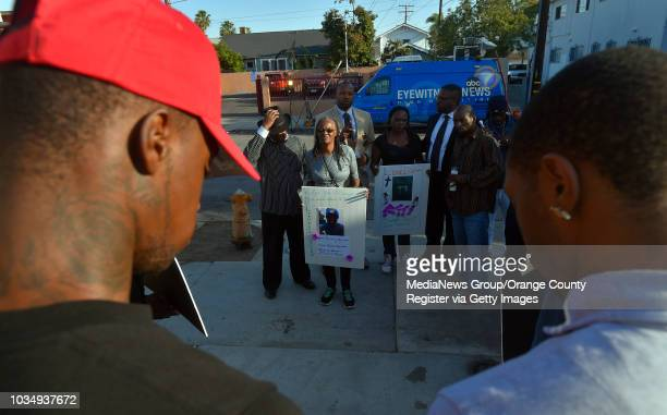 Vigil for Lionel Gibson in Long Beach CA on Wednesday May 18 2016 A couple dozen family friends and people from the neighborhood gathered at the spot...