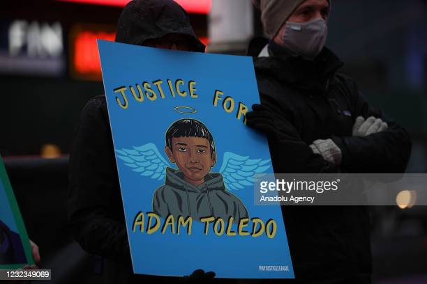 Vigil held at the Times Square for Adam Toledo, Duante Write, George Floyd and all other victims of police brutality, in New York City, United States...