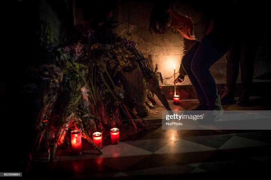 Vigil in memoriam of homeless burned two days ago in Santa Maria della Pace dei Frati Minori Cappuccinis Church in Palermo on March 12, 2017