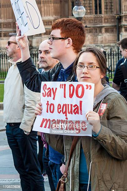 Vigil in support of equal marriage outside Parliament