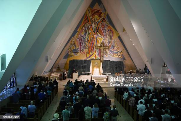 Vigil is held at Guardian Angel Cathedral for the victims of the Route 91 Harvest country music festival shootings on October 2, 2017 in Las Vegas,...