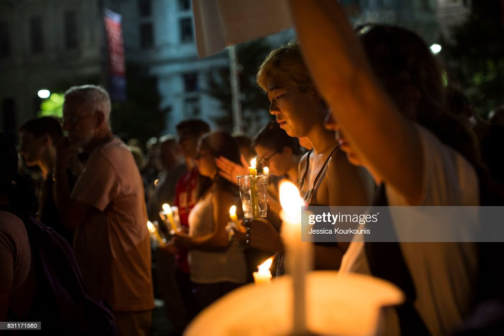 Vigils Held Across For Country For Victims Of Violence At White Nationalist Rally In Charlottesville, Virginia : News Photo