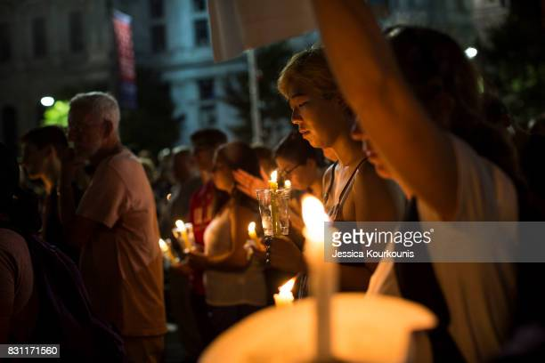 A vigil is held in downtown Philadelphia on August 13 2017 in support of the victims of violence at the 'Unite the Right' rally In Charlottesville...