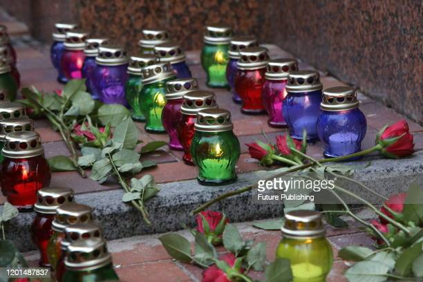Vigil lanterns are seen outside the Embassy of the Islamic Republic of Iran during a commemorative action held 40 days after the January 8 downing of...