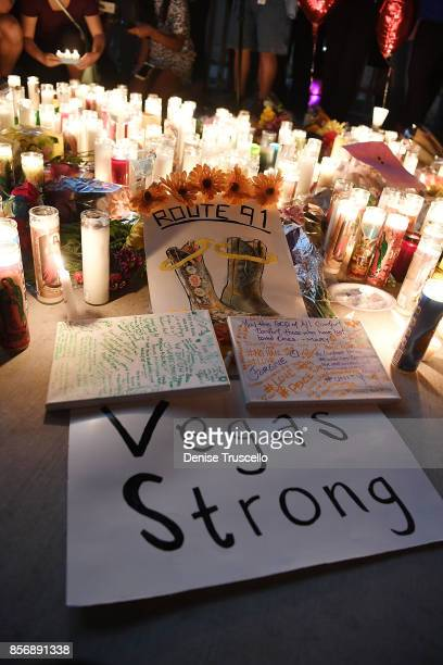 A vigil on the Las Vegas strip for the victims of the Route 91 Harvest country music festival shootings on October 2 2017 in Las Vegas Nevada Lone...