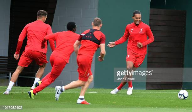 Vigil van Dijk of Liverpool during a training session at Melwood Training Ground on August 15 2018 in Liverpool England