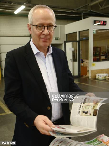 Vigintas Bartasevicius managing director at Press Express the largest distributor of foreign papers poses on January 10 2018 at a warehouse outside...