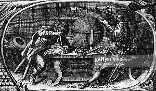 Vignette depicting military engineers at work The man on the left is using compasses/dividers to measure a plan of fortifications Dated 17th Century