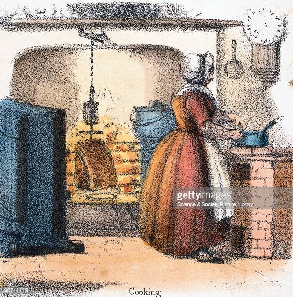 Vignette from a coloured lithographic plate showing a woman cooking a side of beef on a clockwork bottle jack or rotating spit Taken from 'The Bull...