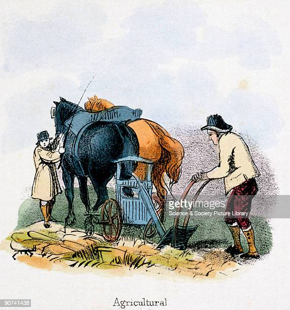 Vignette from a lithographic plate showing a farmer guiding a plough drawn by heavy horses Taken from 'The Horse' in 'Graphic Illustrations of...