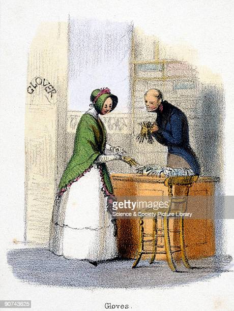 Vignette from a lithographic plate showing a woman inspecting goatskin gloves in a glover�s shop Taken from 'The Goat' in 'Graphic Illustrations of...
