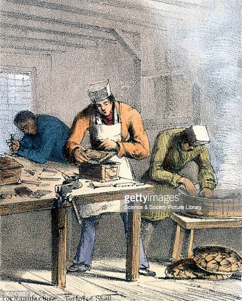 Vignette from a lithographic plate showing three men making products using tortoise shell Tortoise�s shells are made of keratin a natural protein...