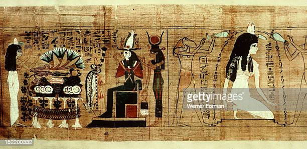 A vignette from the Book of the Dead of Lady Cheritwebeshet Purification with water by Horus and Thoth of the Lady Cheritwebeshet She presents lotus...