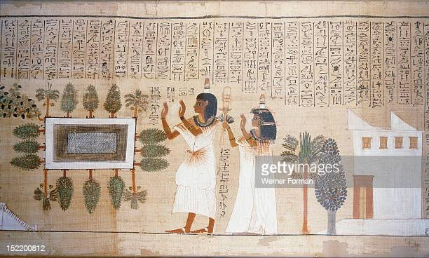 A vignette from the Book of the Dead of Nakhte an important scribe The dead man and his wife stand before Osiris in the garden of their house The...