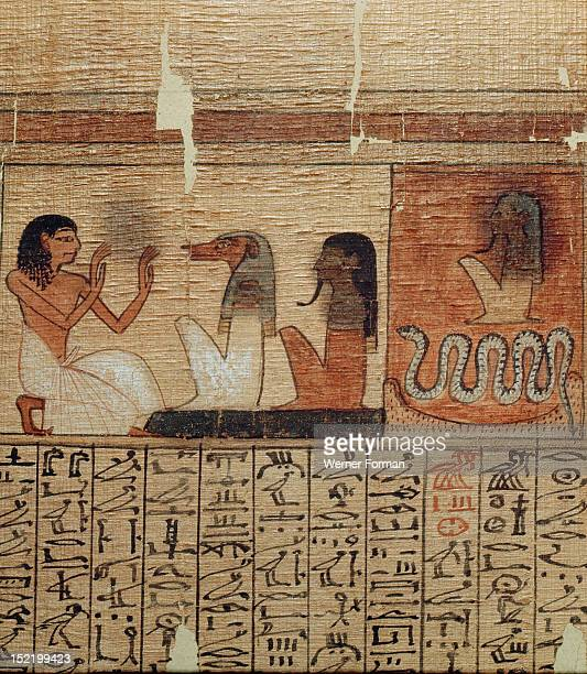 A vignette from the Book of the Dead of Neferrenpet The dead man prays before two gods of the Underworld Egypt Ancient Egyptian 19th dynasty/1295...
