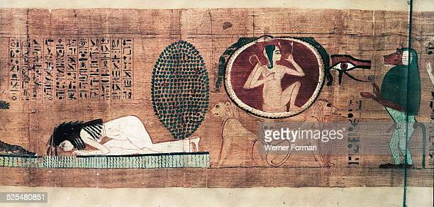A vignette of chapter 42 from the Book of the Dead of Lady Cheritwebeshet Dead lady drinking the fresh water of the Other World The young Sun god who...