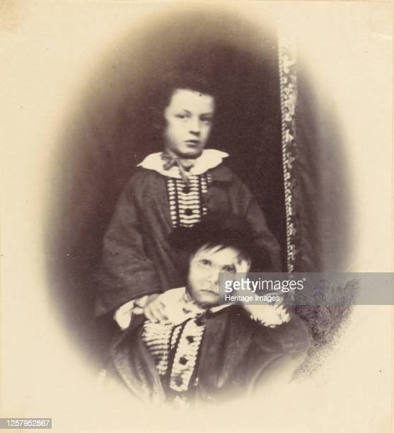 Vignetted portrait of two children, 1850s-60s. Artist Alfred Capel-Cure.