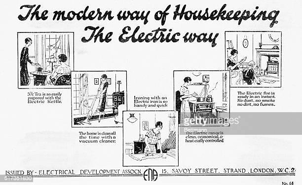Vignettes Depicting The Modern Way Of Housekeeping Electric Top Left Corner Lady Preparing Tea