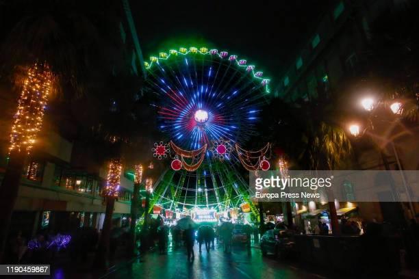 Vigo inaugurates a Christmas big wheel illuminated with coloured lights, on November 27, 2019 in Vigo, Spain.