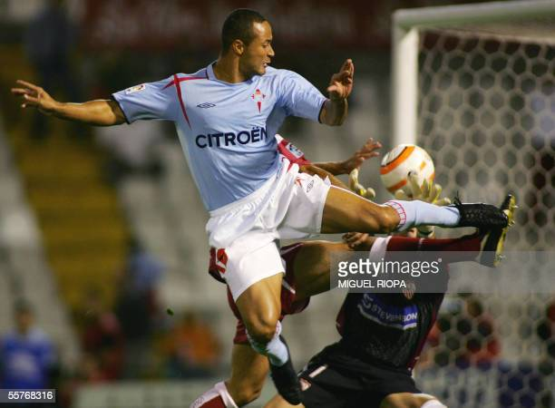 Celta Vigo's brazilian Joao Baiano kicks the ball to score the first goal against Sevilla FC during their spanish first league football match at...