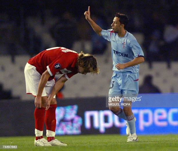 Celta Vigo's Brazilian player Anderson Luiz 'Nene' celebrates after scoring against Spartak Moscow during their UEFA Cup round of 32 second leg...