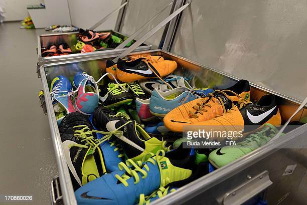 Viiew of a box of football boots in the Brazil dressing room prior to the FIFA Confederations Cup Brazil 2013 Group A match between Brazil and Mexico...