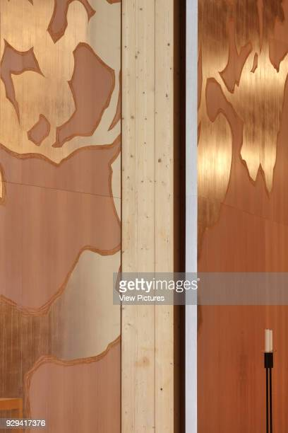 Viikki Church Helsinki Finland Architect JKMM Architects 2005 Detail of Elaman puu altarpiece in mahogany with punched silver decoration with...