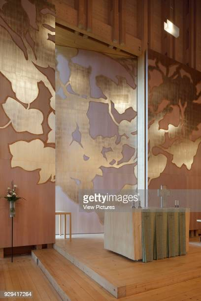 Viikki Church Helsinki Finland Architect JKMM Architects 2005 Elaman puu altarpiece in mahogany with punched silver decoration