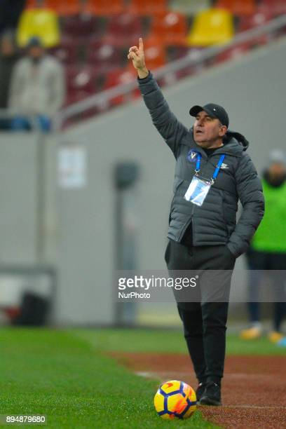 FC Viitorul Constanta's coach Gheorghe Hagi during the Stage 22 of the Romanian First League Football match between Steaua Bucharest and Viitorul...