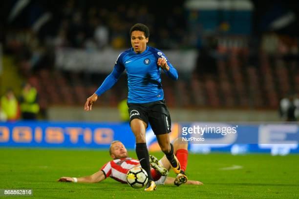 Viitorul's Bradley De Nooijer vies Dinamo's Adam Nemec during a soccer game for Romania Liga between Dinamo Bucharest and Viitorul Constanta at...