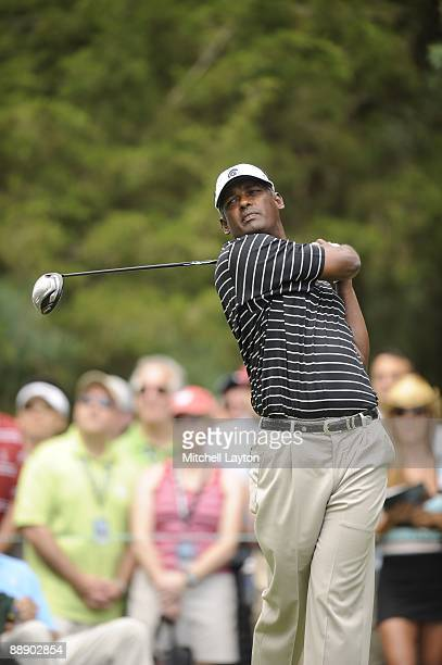 Vijah Singh tees off during the first round of the ATT National at the Congressional Country Club on July 2 2009 in Bethesda Maryland