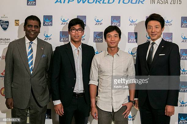 Vijay Amritraj, Hyeon Chung, Yen-Hsun Lu, Michael Chang, and Shuzo Matsuoka pose for a picture at an ATP event on October 12, 2015 in Shanghai, China.